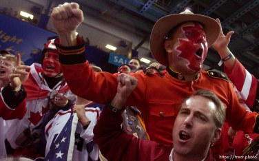Canadian fans. USA vs. Canada, gold medal hockey, Sunday afternoon at the E Center, 2002 Olympic Winter Games.; 02.24.2002, 3:28:49 PM