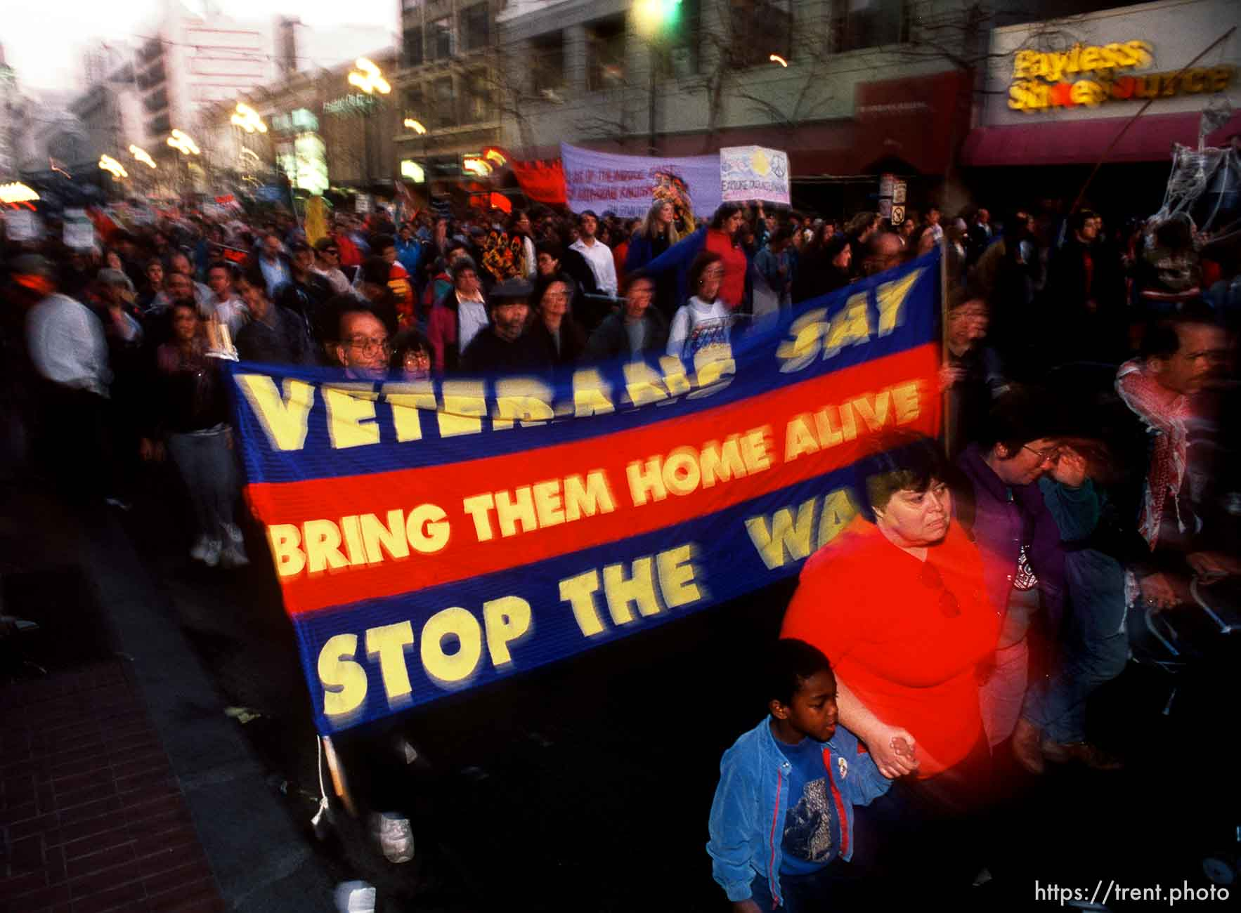 Anti-war Gulf War protests on Market Street. p
