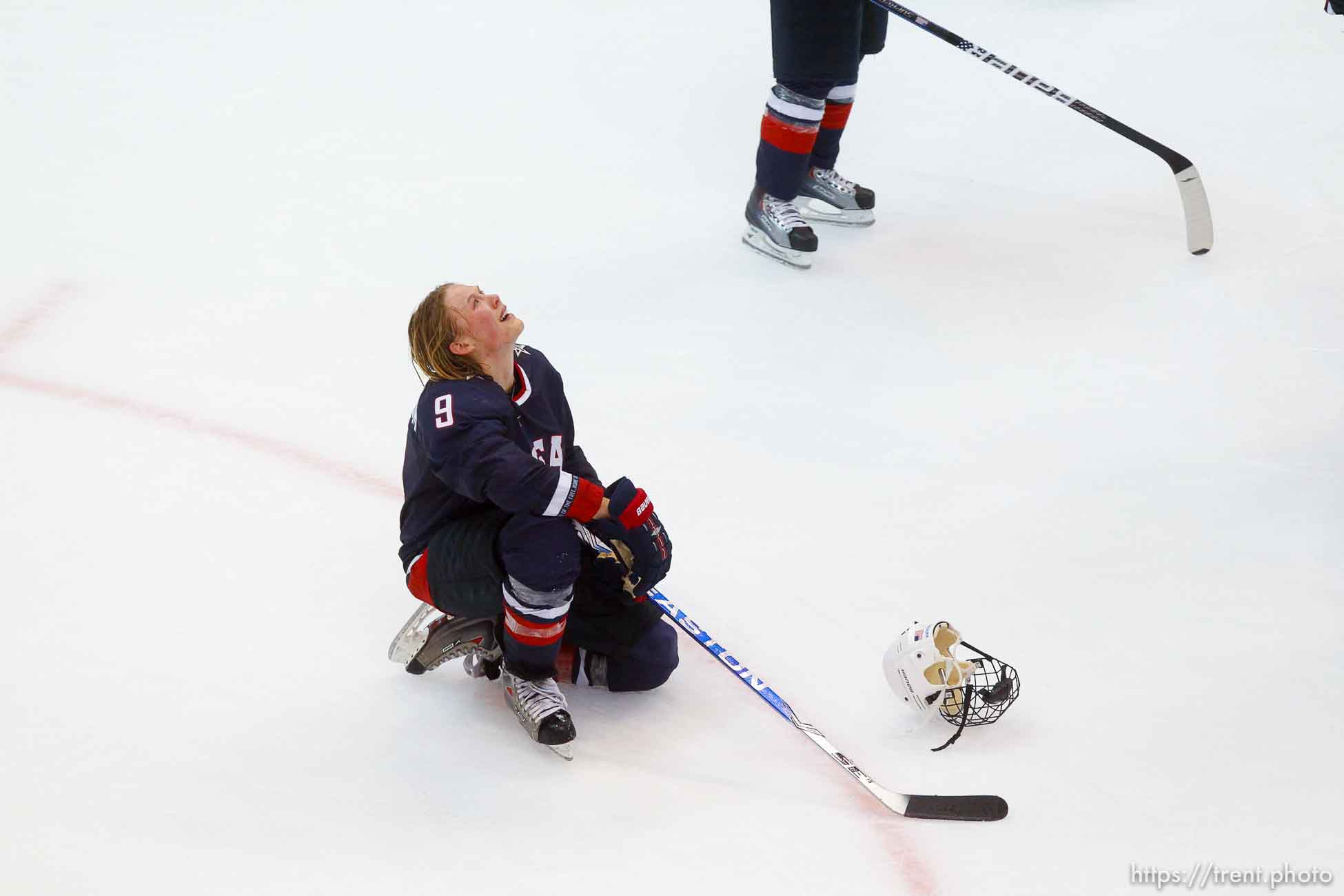 Trent Nelson | The Salt Lake Tribune USA's Molly Engstrom mourns after the loss. Canada defeats Team USA in the gold medal game, women's Ice Hockey at the Canada Hockey Place, Vancouver, XXI Olympic Winter Games, Thursday, February 25, 2010.