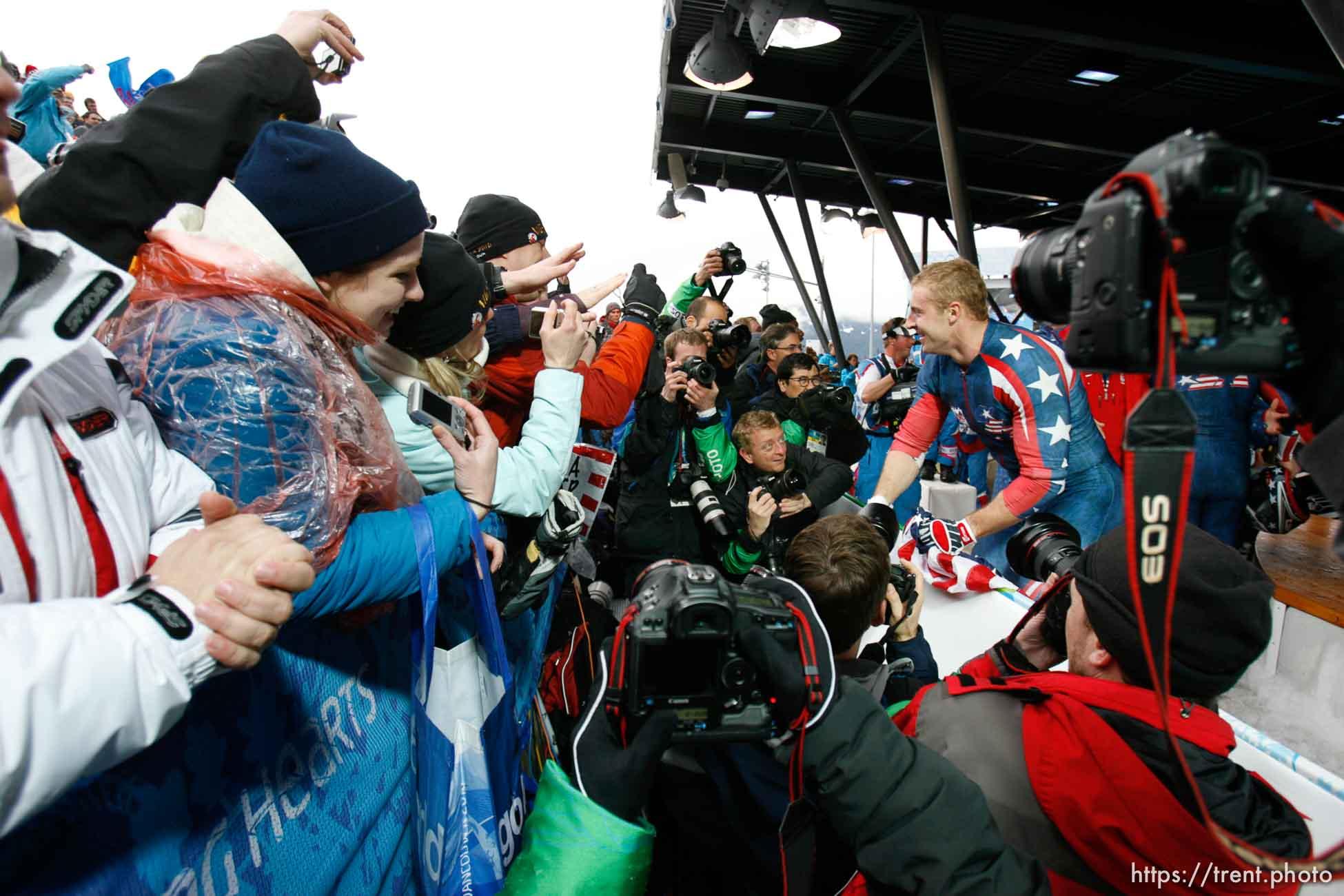 Trent Nelson | The Salt Lake Tribune 4-Man Bobsled, XXI Olympic Winter Games, Saturday, February 27, 2010. usa1 wins gold medal. steven holcomb, steve mesler, curtis tomasevicz, justin olsen