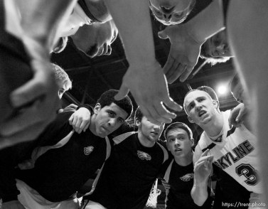 Skyline's Clint Berhow (3) gets his team pumped up in a pre-game huddle. Orem vs. Skyline, 4A High School Basketball Championships Wednesday, February 29, 2012 at the Maverik Center in West Valley City, Utah.