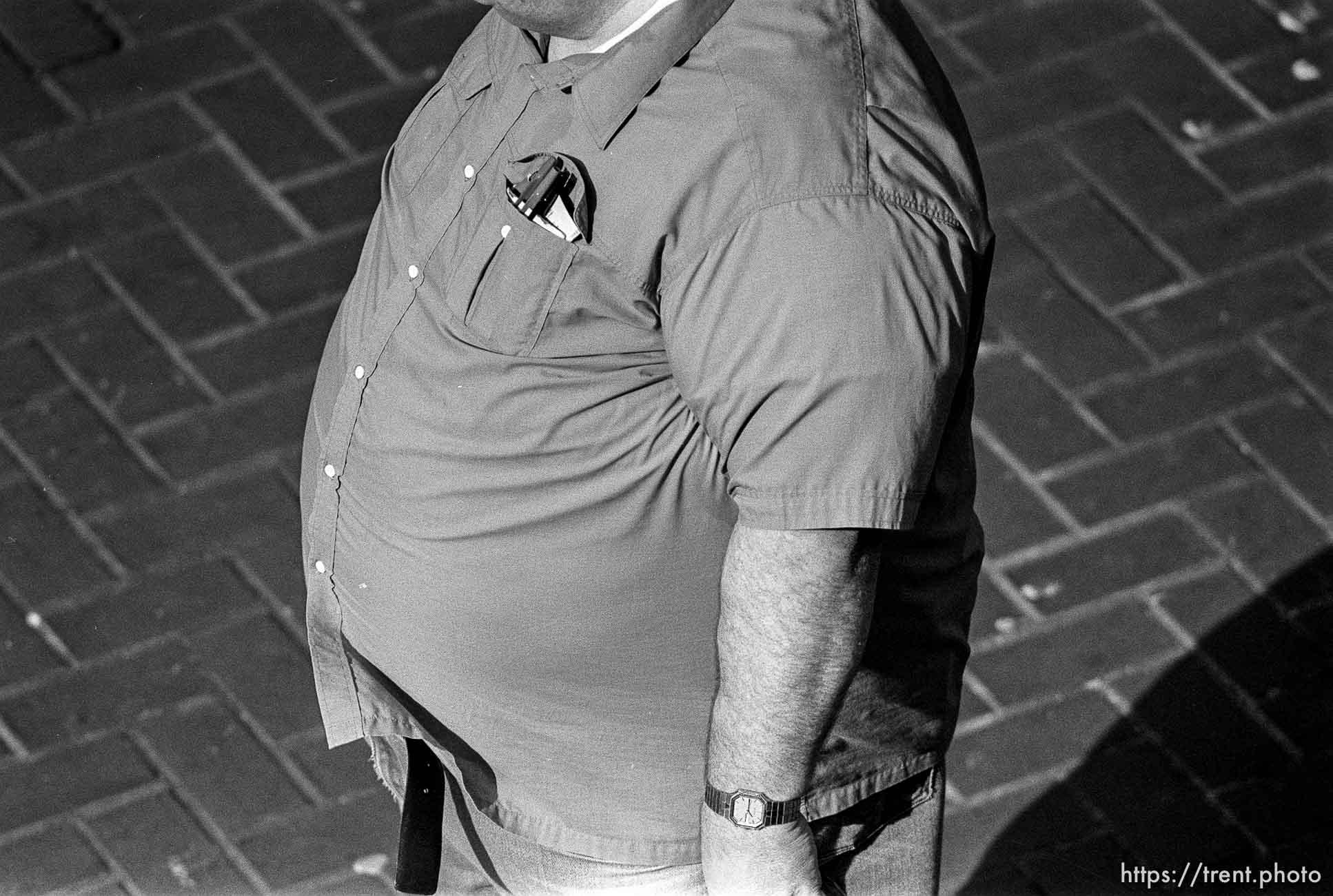 Fat man's midriff
