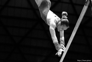 Utah's Molly Northrop on the bars at BYU vs. Utah gymnastics.