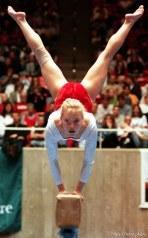 Traci Sommer on the beam at BYU vs. Utah gymnastics.