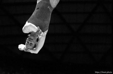Utah's Molly Northrop dismounts from the bars at BYU vs. Utah gymnastics.