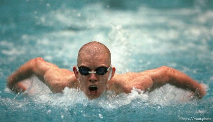 Viewmont's Matt Ethington competing in the 100 meter fly at the 5A high school swimming finals.