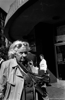 Old woman. Leica hip shots on the street.