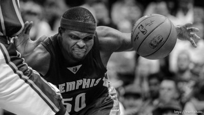 Trent Nelson | The Salt Lake Tribune Memphis Grizzlies forward Zach Randolph (50) defended by Utah Jazz center Rudy Gobert (27), as the Utah Jazz host the Memphis Grizzlies, NBA basketball at EnergySolutions Arena in Salt Lake City, Wednesday February 4, 2015.
