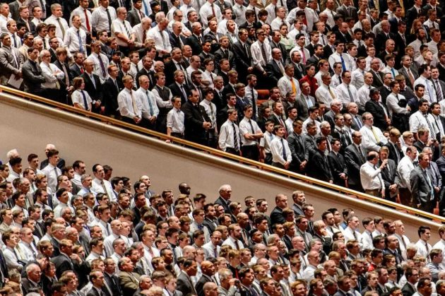 Trent Nelson | The Salt Lake Tribune Men at the priesthood session of the 186th Annual General Conference of The Church of Jesus Christ of Latter-day Saints in Salt Lake City, Saturday April 2, 2016.