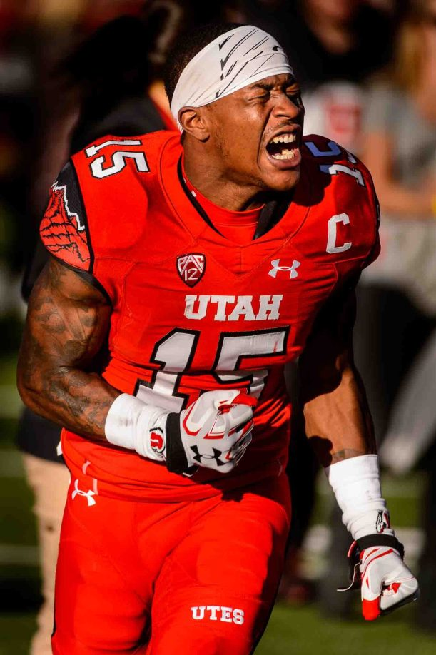 Trent Nelson | The Salt Lake Tribune Utah Utes defensive back Dominique Hatfield (15) reacts to the loss as Utah hosts Oregon, NCAA football at Rice-Eccles Stadium in Salt Lake City, Saturday November 19, 2016.