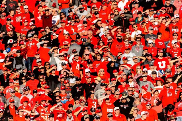 Trent Nelson | The Salt Lake Tribune Utah fans, as Utah hosts Oregon, NCAA football at Rice-Eccles Stadium in Salt Lake City, Saturday November 19, 2016.