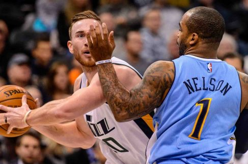 Trent Nelson | The Salt Lake Tribune Utah Jazz forward Gordon Hayward (20) defended by Denver Nuggets guard Jameer Nelson (1) as the Utah Jazz host the Denver Nuggets in Salt Lake City, Wednesday November 23, 2016.