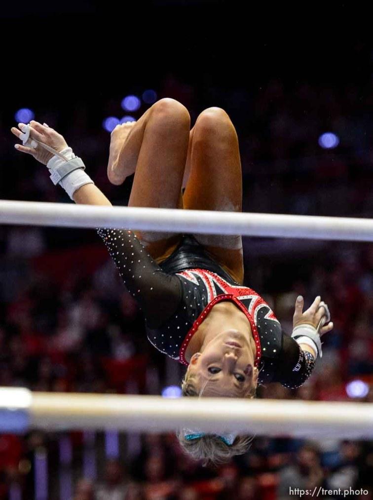 (Trent Nelson | The Salt Lake Tribune) MyKayla Skinner on bars as Utah hosts Washington, NCAA gymnastics in Salt Lake City, Saturday February 3, 2018.