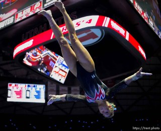 (Trent Nelson | The Salt Lake Tribune) Kim Tessen on vault as Utah hosts Washington, NCAA gymnastics in Salt Lake City, Saturday February 3, 2018.