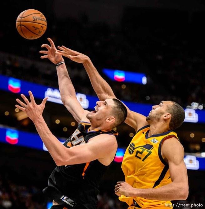 (Trent Nelson | The Salt Lake Tribune) Utah Jazz center Rudy Gobert (27) knocks the ball from Phoenix Suns center Alex Len (21) as the Utah Jazz host the Phoenix Suns, NBA basketball in Salt Lake City, Wednesday Feb. 14, 2018.