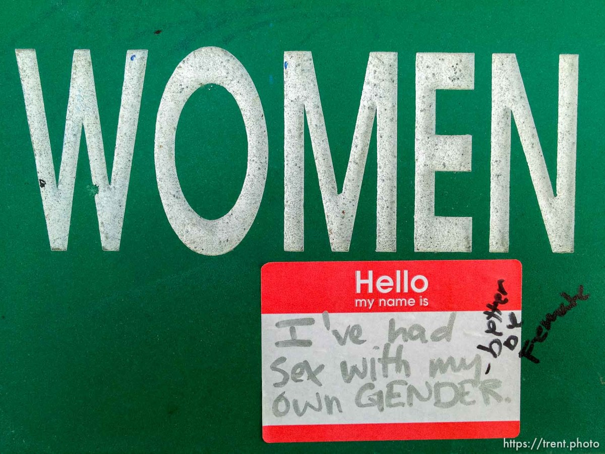 sticker: hello my name is I've had sex with my own gender - better be female