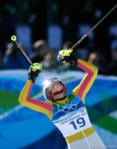 Maria Riesch, Germany, takes the gold medal in Ladies' Super Combined, at the XXI Olympic Winter Games in Whistler, Thursday, February 18, 2010.