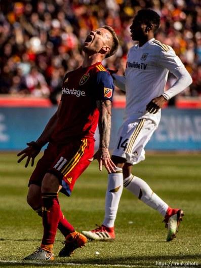 Real Salt Lake midfielder Albert Rusnak (11) reacts to a missed shot.