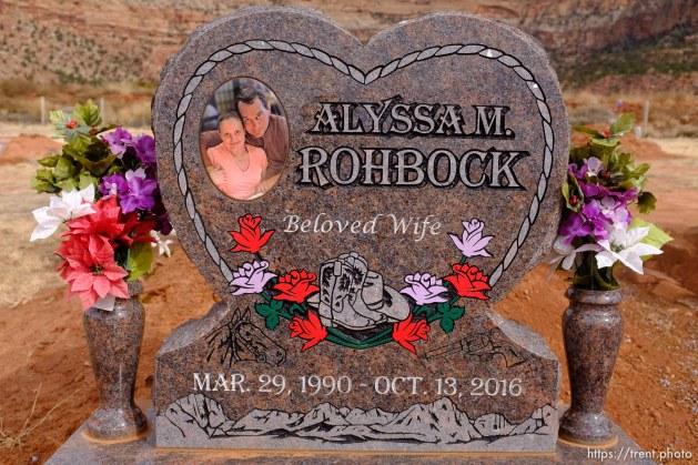 Alyssa M. Rohbock. beloved wife. 1990-2016. Isaac W. Carling Memorial Park, Colorado City, Friday March 16, 2018.