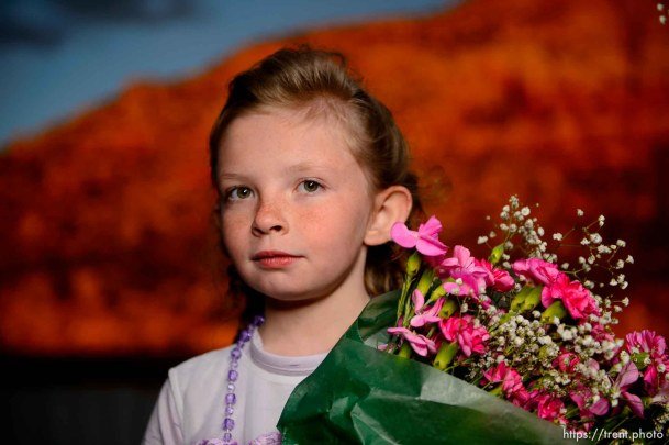 (Trent Nelson | The Salt Lake Tribune) A princess party was thrown for several young FLDS girls in Colorado City, Ariz., Friday March 16, 2018, as a reward for reading books. Before the party, Lolly Bistline posed for a portrait.