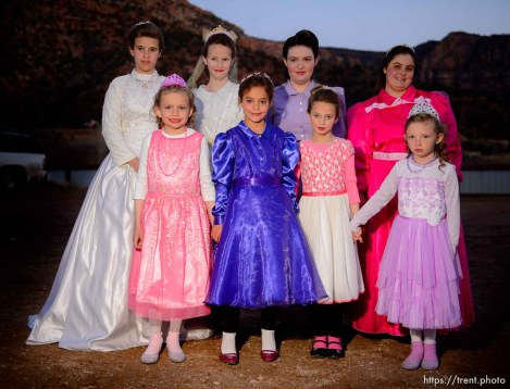 (Trent Nelson | The Salt Lake Tribune) A princess party was thrown for several young FLDS girls in Colorado City, Ariz., Friday March 16, 2018, as a reward for reading books. Before the party, some of the girls posed for a photograph.