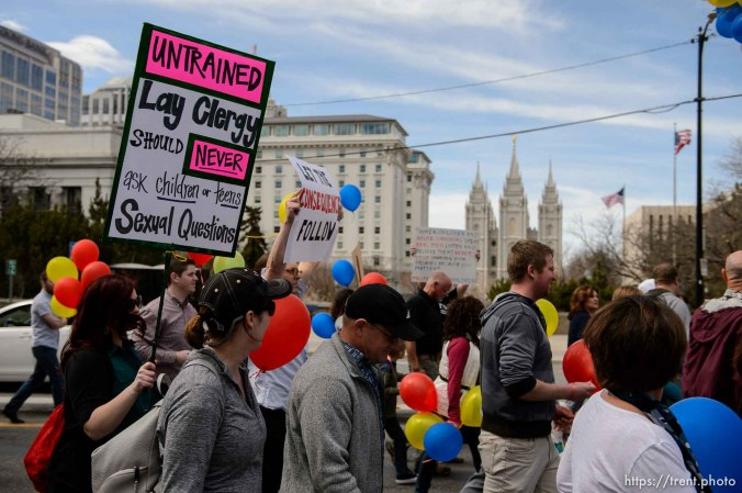 (Trent Nelson | The Salt Lake Tribune) People, including members of the Mormon Church, held a rally and marched to the LDS Church Office Building in Salt Lake City to request that the faith's leaders put an end to bishops meeting one-on-one with children for interviews. Friday March 30, 2018.