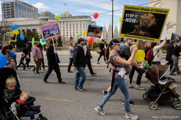 (Trent Nelson   The Salt Lake Tribune) People, including members of the Mormon Church, held a rally and marched to the LDS Church Office Building in Salt Lake City to request that the faith's leaders put an end to bishops meeting one-on-one with children for interviews. Friday March 30, 2018.
