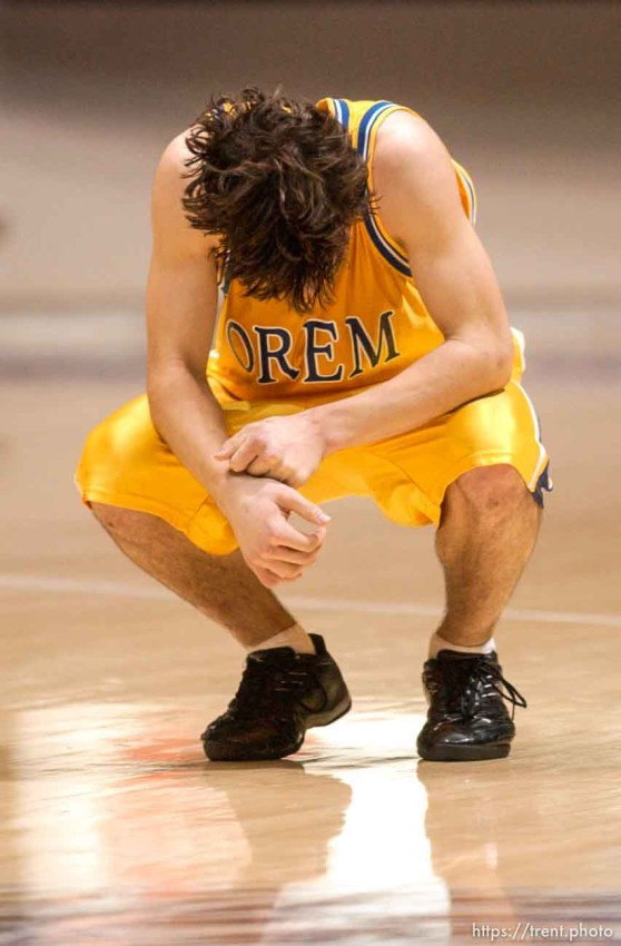 Orem's Alex Call after the loss. Box Elder vs. Orem, 4A state high school basketball semifinals Friday at Weber State University, Ogden.
