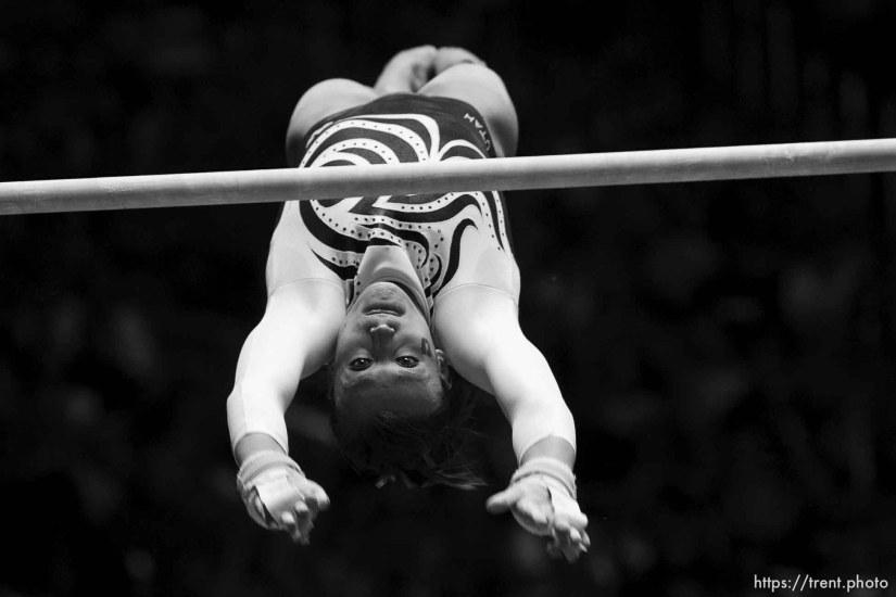 Salt Lake City - Utah's Daria Bijak scored a 9.150 on the bars, University of Utah vs. Florida gymnastics Friday March 13, 2009.