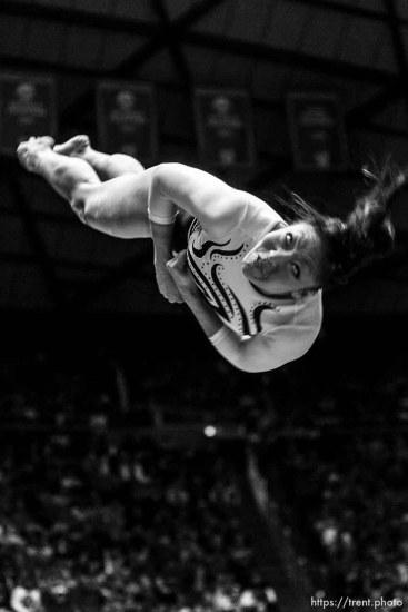 Salt Lake City - Utah's Nina Kim dismounts, scoring a 9.950 on the beam, University of Utah vs. Florida gymnastics Friday March 13, 2009.