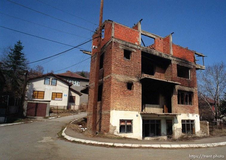 Destruction in Suvi Do, a Serbian enclave in north Mitrovica.