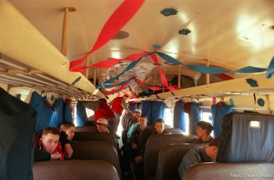Boys team on bus. North Sevier Wolves state basketball championship essay.