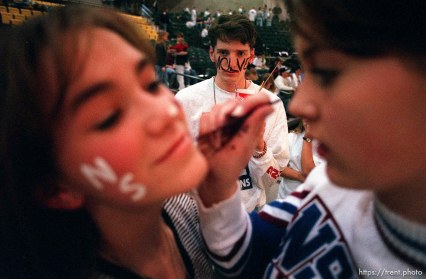 Fans face painting. North Sevier Wolves state basketball championship essay.