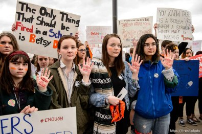 (Trent Nelson | The Salt Lake Tribune) High school students gathered at the Utah State Capitol in Salt Lake City to mark the anniversary of the Columbine High School massacre and call for action against gun violence, Friday April 20, 2018. Brynna Dow, Olivia Bee, Chloe Harris, and Amanda DeMelo