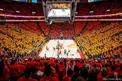(Trent Nelson | The Salt Lake Tribune) Utah Jazz host the Oklahoma City Thunder, Game 3, NBA playoff basketball in Salt Lake City, Saturday April 21, 2018.