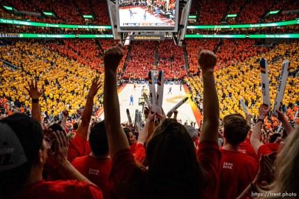 (Trent Nelson | The Salt Lake Tribune) Utah Jazz host the Oklahoma City Thunder, Game 3, NBA playoff basketball in Salt Lake City, Saturday April 21, 2018. Fans cheer in the fourth quarter.