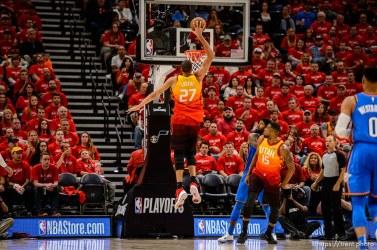 (Trent Nelson | The Salt Lake Tribune) Utah Jazz host the Oklahoma City Thunder, Game 3, NBA playoff basketball in Salt Lake City, Saturday April 21, 2018. Utah Jazz center Rudy Gobert (27) gives the Jazz a two point lead.