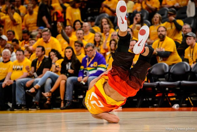 (Trent Nelson | The Salt Lake Tribune) Utah Jazz host the Oklahoma City Thunder, Game 3, NBA playoff basketball in Salt Lake City, Saturday April 21, 2018. Utah Jazz center Rudy Gobert (27) flips himself off the floor.