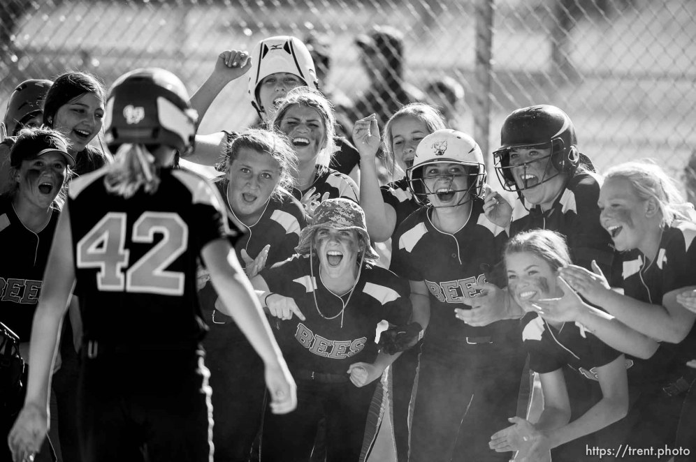 (Trent Nelson | The Salt Lake Tribune) Bountiful faces Box Elder High School in the 5A Softball State Championship game, Thursday May 24, 2018. Box Elder players celebrate a home run by Box Elder's Nyah DeRyke (42).