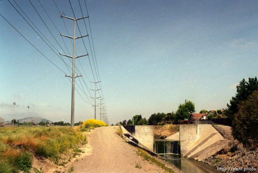 Creek and power lines.