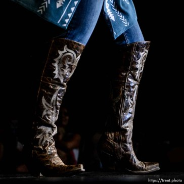 (Trent Nelson | The Salt Lake Tribune) Katelyn Lisonbee during the fashion show of the Miss Utah Rodeo pageant at the Ogden Eccles Conference Center, Monday July 23, 2018.