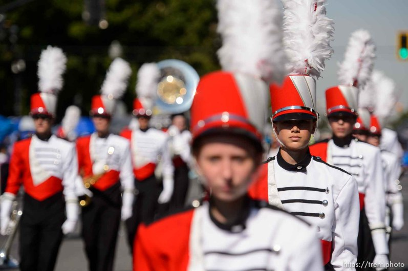 (Trent Nelson | The Salt Lake Tribune) The Days of '47 Parade in Salt Lake City, Tuesday July 24, 2018. Park City High School's marching band.
