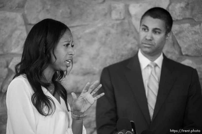 "(Trent Nelson | The Salt Lake Tribune) FCC Chairman Ajit Pai and Rep. Mia Love speak following a roundtable in Eagle Mountain on Thursday Aug. 23, 2018. Rural broadband providers discussed ""how expanding high-speed internet access and closing the digital divide can create jobs and increase digital opportunity."""
