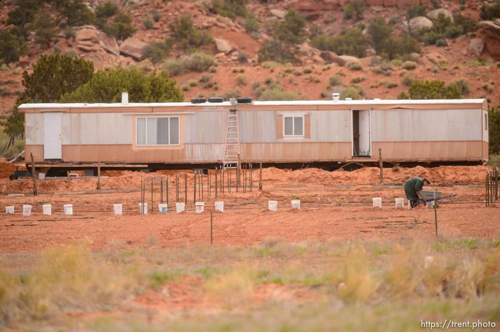 flds woman in front of trailer, Friday April 15, 2016.