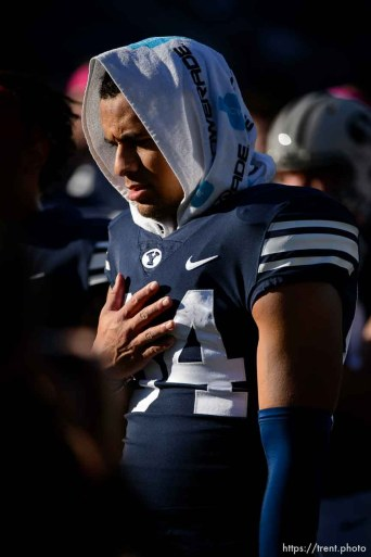 (Trent Nelson | The Salt Lake Tribune) Brigham Young Cougars wide receiver Neil Pau'u (84) after the 7-6 loss as BYU hosts Northern Illinois, NCAA football in Provo, Saturday Oct. 27, 2018.