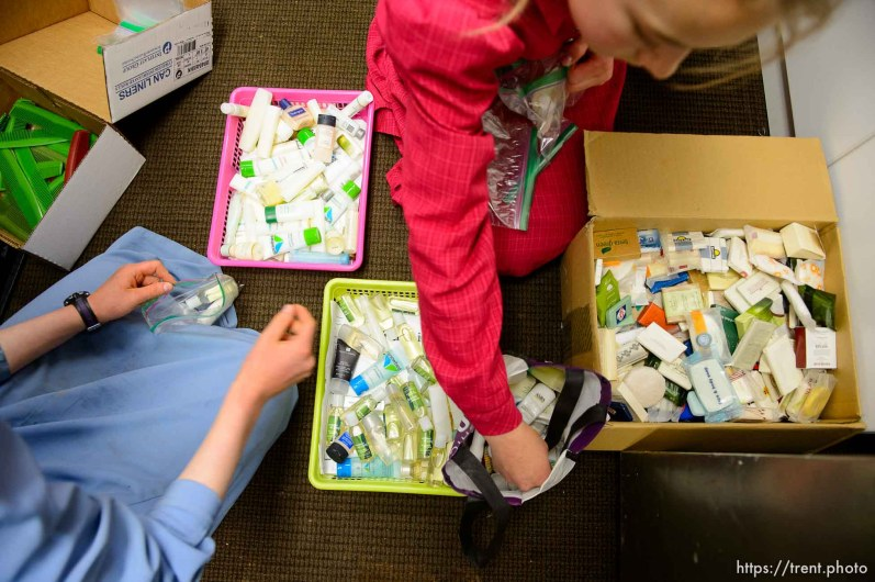 Trent Nelson | The Salt Lake Tribune flds girls put together relief kits for people caught in uep evictions, Monday May 8, 2017.