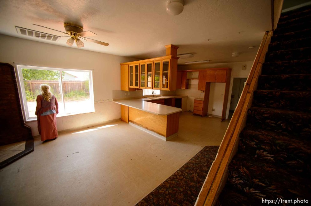 Trent Nelson | The Salt Lake Tribune Christine Marie Katas in an empty UEP Trust home in Colorado City, AZ, vacated by an FLDS family as eviction loomed, Monday May 8, 2017.