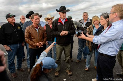 Trent Nelson | The Salt Lake Tribune Secretary of the Interior Ryan Zinke speaks at a news conference at the Kanab Airport, Wednesday May 10, 2017. Standing with him were Rep. Chris Stewart and a group of county commissioners.