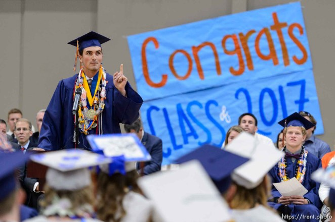 Trent Nelson | The Salt Lake Tribune Valedictorian Roy Jessop speaks at Water Canyon High School's graduation ceremony in Hildale, Monday May 22, 2017. Two years ago the school had one graduate, this year twenty-five.
