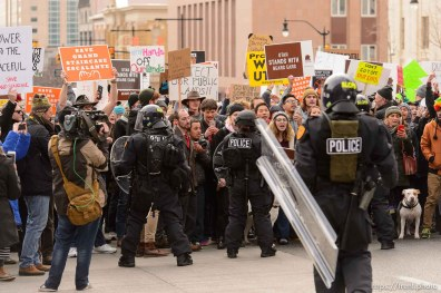 (Trent Nelson   The Salt Lake Tribune) Police and protesters downtown after a rally against a visit by President Donald Trump, Monday December 4, 2017.
